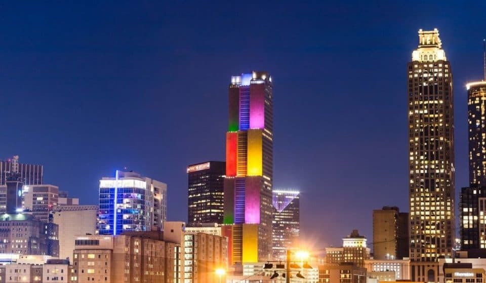 Georgia-Pacific Center Honors Pride Month With Stunning, Rainbow Light Projection